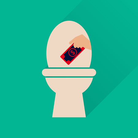 watercloset: Flat icon with long  shadow toilet money Illustration