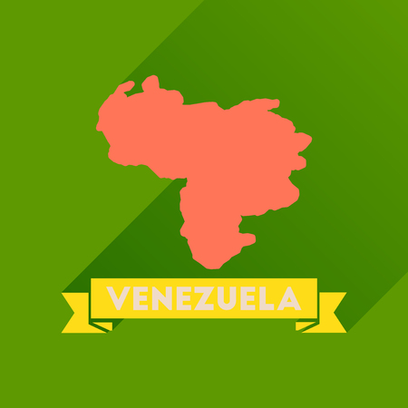 mapa de venezuela: Flat icon with long  shadow map of Venezuela
