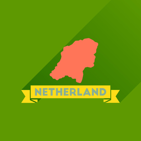 map of netherlands: Flat icon with long  shadow Netherlands map
