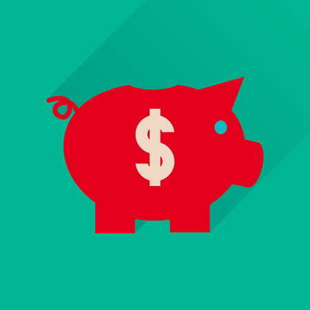 Flat icon with long  shadow piggy bank money
