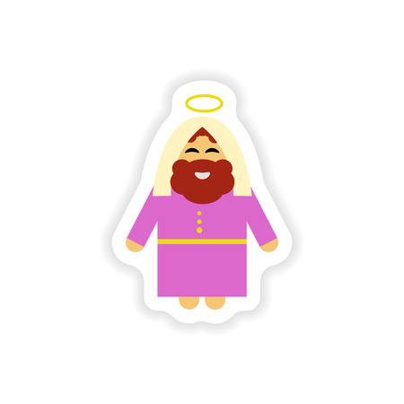 born saint: Set of paper stickers on white background  father of Jesus