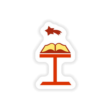 holy book: paper sticker on white background  Open Bible