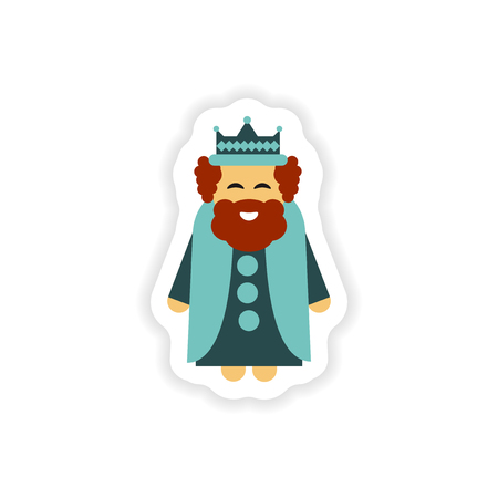 paper sticker on white background  king cartoon Illustration