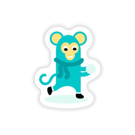 iceskates: paper sticker on white background monkey snow