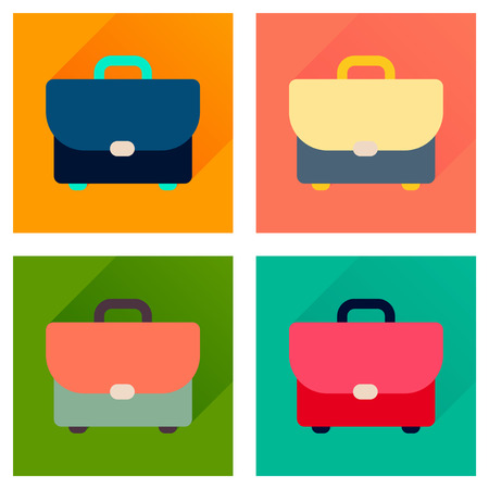 business case: Concept of flat icons with long  shadow business case Illustration