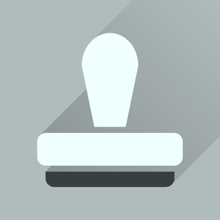 qualify: Flat icon with long  shadow stamp office