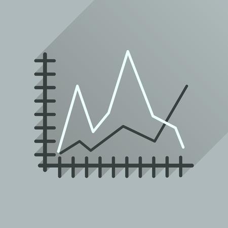 decreasing: Flat icon with long  shadow economic graph Illustration