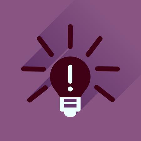 Flat icon with long  shadow light bulb idea
