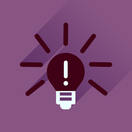 Flat icon with long  shadow light bulb idea