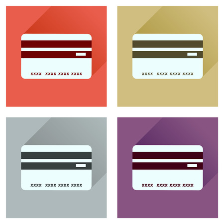 transact: Concept of flat icons with long  shadow bank card