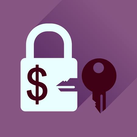 lock and key: Flat icon with long  shadow key lock Illustration