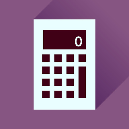 cost of education: Flat icon with long  shadow office calculator Illustration