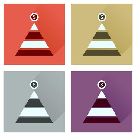 pyramidal: Concept of flat icons with long  shadow financial pyramid