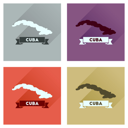 guantanamo: Concept flat icons with long  shadow map of Cuba Illustration