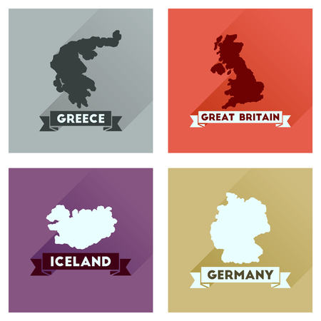 atlantic city: Concept flat icons with long  shadow maps countries of world Illustration