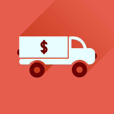 Flat icon with long  shadow  car transportation money Illustration