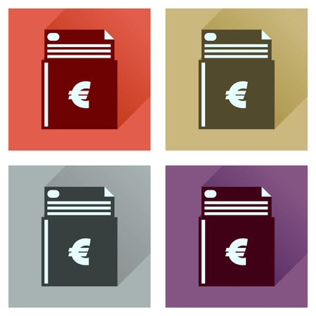 checkbook: Concept flat icons with long  shadow check book Illustration