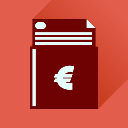 chequebook: Flat icon with long  shadow check book