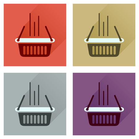 shopping basket: Concept flat icons with long  shadow shopping basket