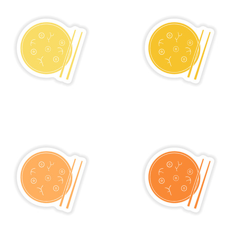 Set of paper stickers on white background   Miso soup Illustration