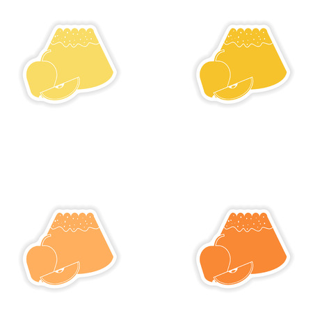 fruitcakes: Set of paper stickers on white background  apple cake