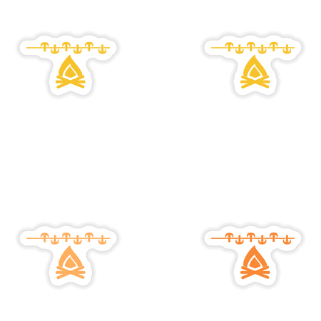 fungi: Set of paper stickers on white background  mushrooms fire
