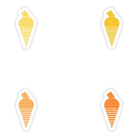 chocolate ice cream: Set of paper stickers on white background  chocolate ice cream