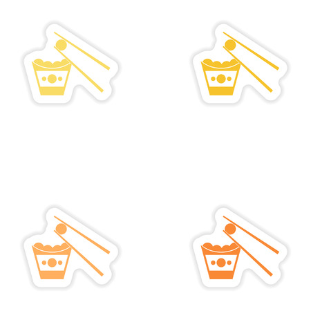 Set of paper stickers on white background   cheese balls