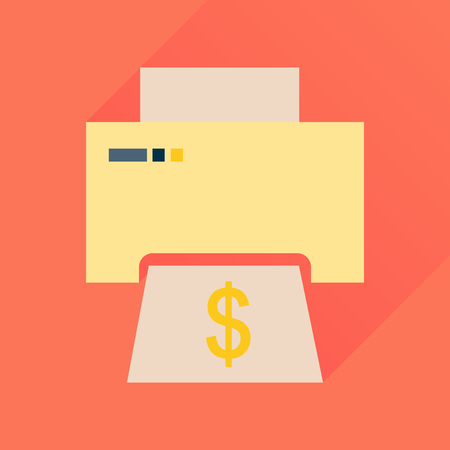 Flat icon with long  shadow money printing Illustration