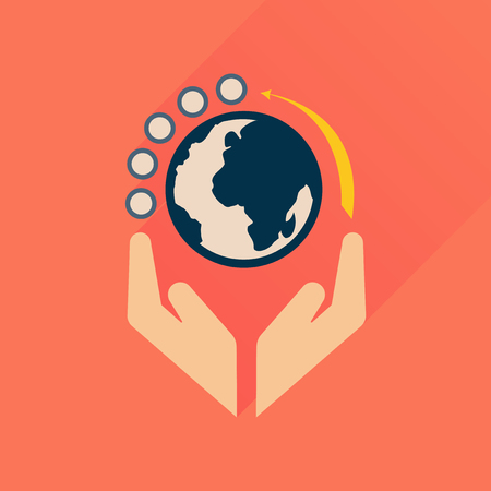 Flat icon with long  shadow Earth hands Illustration