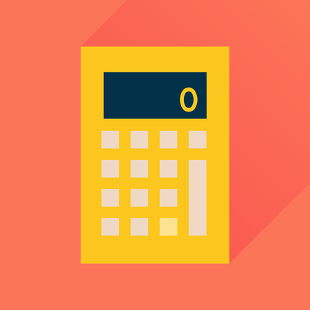 Flat icon with long  shadow office calculator Illustration