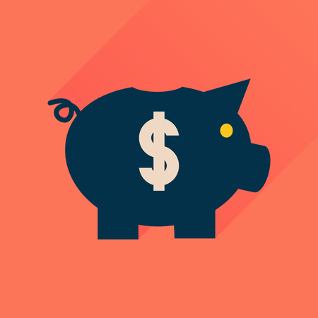 dolar: icono plana con una larga sombra de dinero alcancía