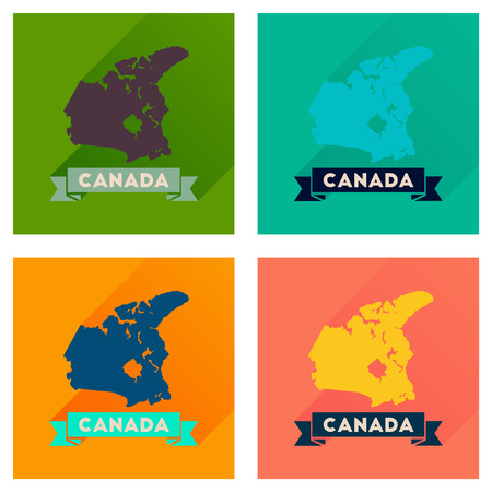quebec: Concept of flat icons with long  shadow Canada map