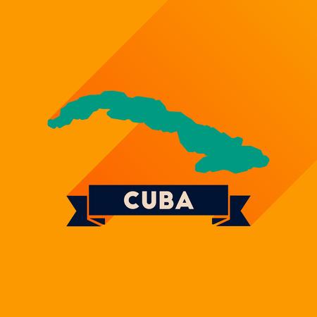 guantanamo: Flat icon with long  shadow map of Cuba