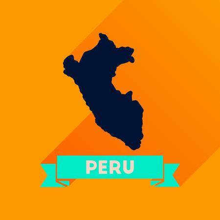 mapa del peru: Flat icon with long  shadow Peru map