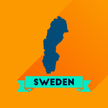 detailed image: Flat icon with long  shadow Sweden map