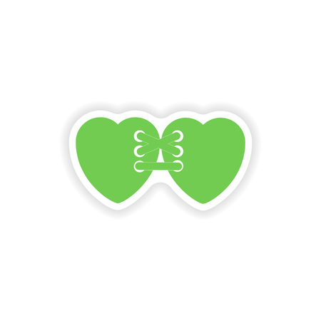 related: paper sticker on white background  related heart