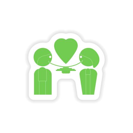 pareja comiendo: etiqueta de papel en el fondo blanco amantes de la alimentación