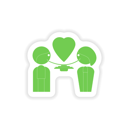 and two friends: paper sticker on white background  lovers eating