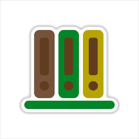 secretarial: paper sticker on white  background folders for documents