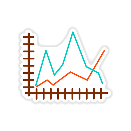 paper sticker on white  background economic graph