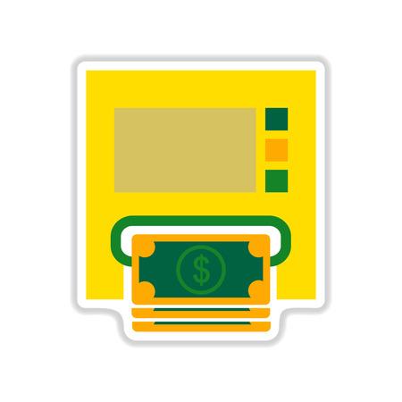 automatic transaction machine: etiqueta engomada de papel en el fondo blanco Dinero de ATM