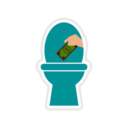 watercloset: paper sticker on white  background money toilet