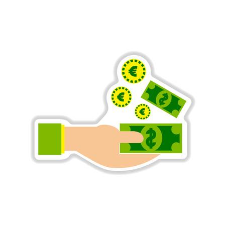 Etiqueta de papel sobre fondo blanco dinero en la mano Foto de archivo - 64927136