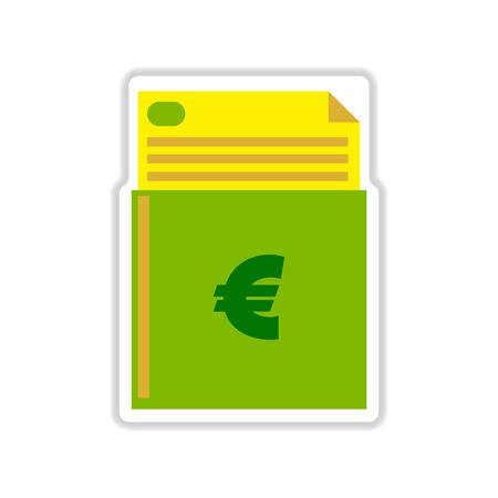 chequera: paper sticker on white  background finance checkbook