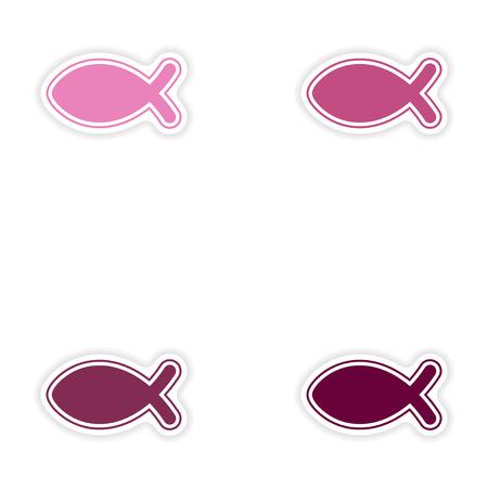 pez cristiano: Conjunto de pegatinas de papel sobre fondo blanco cristiano de los pescados Vectores