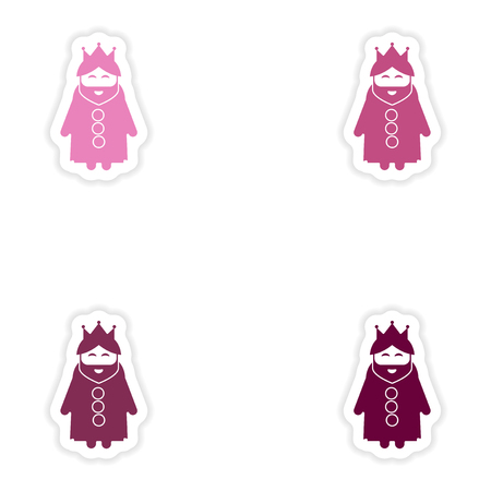 royal person: Set of paper stickers on white background  king cartoon