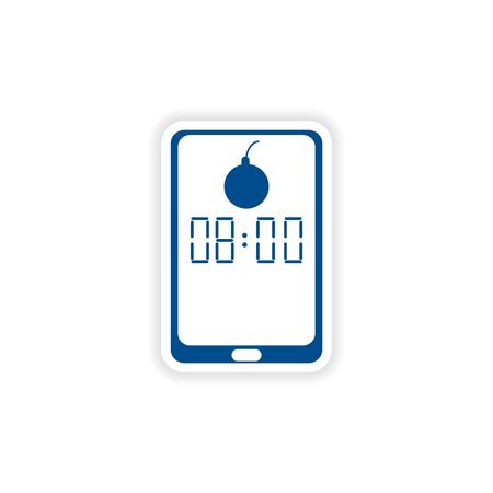 phone the clock: paper sticker on white background  Mobile Phone alarm clock Illustration