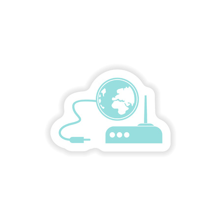 electrical tower: paper sticker on white background   Wi-Fi router Illustration