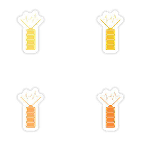 Set of paper stickers on white background  mobile Battery